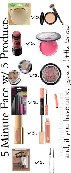 Out the Door in 5 (Minutes + Products) - 5 products to get a full face of makeup in 5 minutes - drugstore vs designer!. And, if you have time, give a little brow!