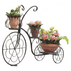 Wind & Weather Novelty Tricycle Plant Stand and Pedestal Flower Cart, Flower Pots, Flowers, Old Fashioned Bicycle, Bicycle Decor, Old Bicycle, Victorian Trading Company, Wrought Iron Decor, House Plants Decor