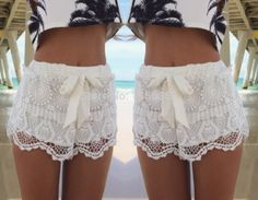 Women shorts 2015 New Panties Girl Fashion Briefs White Blue Lace Crochet Stretch Shorts with bow short feminino