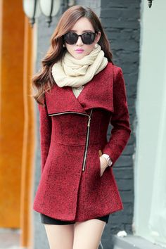 Cheap Fashion Turndown Collar Long Sleeves Zipper Design Wine Red Regular Wool Coat on Luulla