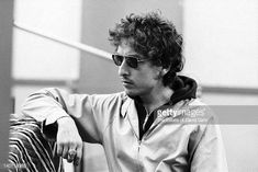 Folk singer Bob Dylan is photographed on October 9 1972 at a recording session for musician Doug Sahm at Atlantic Studios in New York City New York