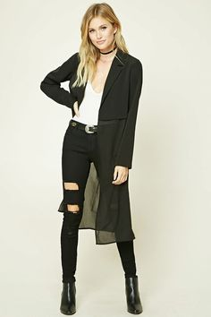 Forever 21 Contemporary - A knit cropped blazer top featuring a notched collar, long sleeves, an open front, and a semi-sheer crepe longline bottom with a vented hem.