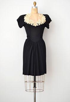 vintage 1940s illusion lace black dress