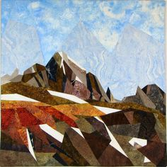 View from Rendezvous Point II, Dolores Miller.  Landscape art quilt. SAQA Northern California.