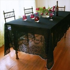Nice Black, Hand Dyed, Lace Tablecloth.