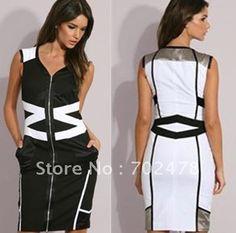 Dress-Dresses-Black-dress-white-dress-V-neck-dress-Sleeveless-Dress-