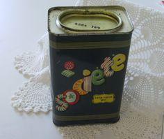 Old metal candy tin