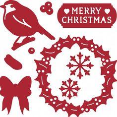 Troquel Navidad pájaro en corona navideña First Edition para Sizzix