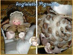ANGIOLETTO PIGNOLINO - Faccina imbottita e dipinta con colori acrilici, pigna riempita con filato di lana, coccoloso e profumatissimo.