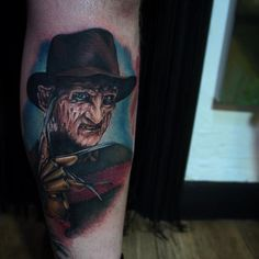Photo by (tattooistartmag) on Instagram | #freddykruegertattoo #freddykrueger #nightmareonelmstreet #anightmareonelmstreet #elmstreet #80shorror #wescraven #robertenglund #horrortattoo #horrortattoos #coverup Horror Tattoos, Movie Tattoos, Robert Englund, Nightmare On Elm Street, Freddy Krueger, Serial Killers, Tattoo Ideas, Instagram, Freddy Krueger Mask