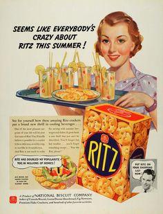1936 Ad Ritz Crackers Nabisco National Biscuit Uneeda Original