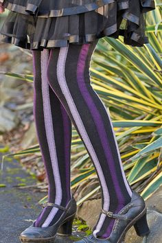 Dreamer Vertical Striped Cotton OTK - Dreamy fit in an over-the-knee sock with tonal vertical stripes from your thighs to your toes.  These stay up pretty well without digging into your thighs. Wear them straight up or twist them for a shorter swirled sock. Made in the USA.