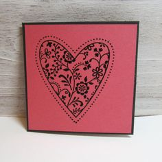 Set of 5 Happy Valentine's Day Pink Black Heart Mini Note 3x3 Greeting Card handmade hand stamped I love you wedding lunch box sweetheart on Etsy, $5.00
