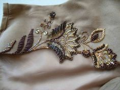This Pin was discovered by Але Pearl Embroidery, Hand Embroidery Videos, Bead Embroidery Patterns, Tambour Embroidery, Embroidery On Clothes, Hand Work Embroidery, Couture Embroidery, Silk Ribbon Embroidery, Hand Embroidery Designs