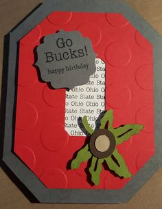 OSU Ohio State Go Bucks Happy Birthday Greeting Card OSU Card