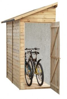 abri de rangement pour 3 v los pour les poubelles ou outils de jardinage en bois brut abri. Black Bedroom Furniture Sets. Home Design Ideas