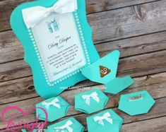 Dirty Diaper Game Light Teal Diaper Pins and matching 4 x 6 Frame - Designer Inspired - Baby & Company Baby Shower Games - Light Teal Aqua