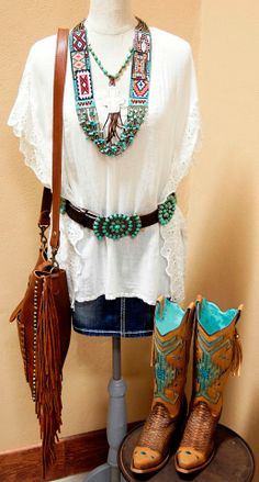 New to STT -- Everyday is the perfect day for turquoise and fringe. | SouthTexasTack.com | For this exact outfit, call 1-855-899-BOOT | Featured Boots: Corral Women's Brown Antique Python  Blue Indian Indigo Jute Cowgirl Boots