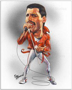 Freddie Mercury Celebrity Caricature Art Print Don Howard