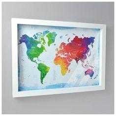 Quadro Box Minhas Viagens - Mapa-Múndi Aquarela + 100 Pins Alfinetes - Viagema - Para quem tem Fome de Viagem