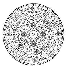 Black and white medallion drawing.