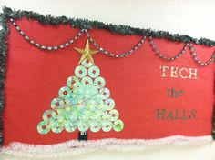 Technology Christmas bulletin board at Rock Spring Elementary