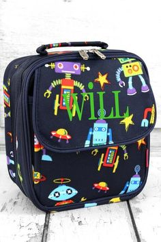 Send your child back to school with this fun robot print insulated lunch box! Robots in Space Insulated Lunch Box #monogram #lunchbag #backtoschool