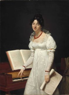 Portrait of a lady, three-quarter length, at a pianoforte holding a manuscript. Adèle Romany (French, Oil on canvas. The young lady stands before a pianoforte, idly fingering its keys; Adele, Fashion Painting, Fashion Art, Hand Kunst, Renaissance, Regency Dress, 1800s Fashion, Empire Style, Fashion Plates