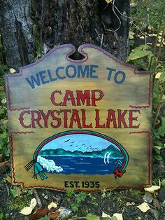 Friday The Jason Voorhees Camp Crystal Lake Sign Replica Hand made Friday The 13th Tattoo, Happy Friday The 13th, Lake Tattoo, House On Haunted Hill, Tatuagem Old School, Lake Signs, Danse Macabre, Horror Films, Horror Art