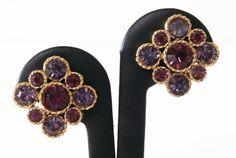 Vintage Light & Dark Purple Rhinestone Clip On Style Earrings - Vintage Rhinestone Jewelry, Vintage Earrings by Koalatyvintage on Etsy