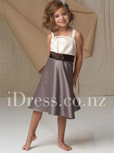 Two-tone Satin Wide Straps Sleeveless Tea Length A-line Flower Girl Dress