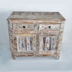 Come shop our reclaimed cabinets! Reclaimed boat wood cabinet with white wash finish and two drawers.