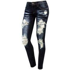 Dark Denim Destructed Skinny Jean