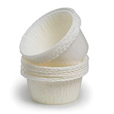 Flat Rimmed White Baking Cups - Set of 60 (Not just for cupcakes...)