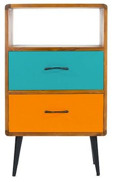 A retro sideboard cabinet refurbished with new green and turquoise
