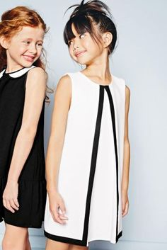Ecru Shift Dress With Contrast Binding (3-16yrs) from Next