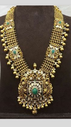 Broad Peacock Long Haram in 22 Carat Gold Indian Wedding Jewelry, Indian Jewelry, Gold Jewellery Design, Gold Jewelry, Bridal Jewelry Sets, Bridal Jewellery, 22 Carat Gold, Jewelry Patterns, Jewelry Collection