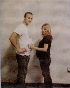 When Michelle Williams was pregnant she would often feel insecure about her body, so her husband Heath Ledger would put padding under his shirt to appear pregnant as well in the hopes of making her feel better. This photo was taken the first time he did this.
