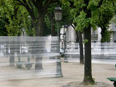 sealed-park-Bernadotte. Cedric Bernadotte is the artist who's experiments are often focused on the human presence in cities, how to use public spaces appropriately, and questioning the frontier between public spaces and private spaces.