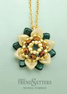 Winter Flower | CzechMates Triangle Pendant | Free TrendSetter pattern by Nichole Starman