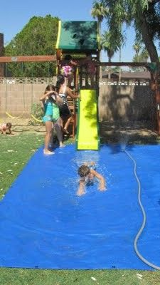 Place a tarp under or at the bottom of slide, set up sprinkler to keep slide and tarp wet...hours of water fun! Must remember