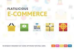Ecommerce Flat Icons by Pixel Bazaar on @creativemarket