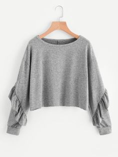 SheIn offers Drop Shoulder Flounce Trim Sleeve Sweatshirt & more to fit your fashionable needs. Girls Fashion Clothes, Teen Fashion Outfits, Girl Fashion, Girl Outfits, Casual Outfits, Cute Outfits, Fashion Design, Ellesse, Mode Hijab
