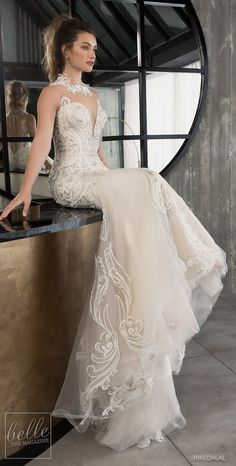 Riki Dalal Wedding Dresses Spring 2019 Glamour Bridal Collection. Embellished mermaid wedding dress with high illusion neck. Chapel train sleeveless glamorous bridal gown. #weddingdress #weddingdresses #bridalgown #bridal #bridalgowns #weddinggown #bridetobe #weddings #bride #weddinginspiration #dreamdress #fashionista #weddingideas #bridalcollection #bridaldress #fashion #bellethemagazine #ido #dress See more gorgeous wedding gowns by clicking on the photo