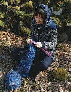 woman knitting.