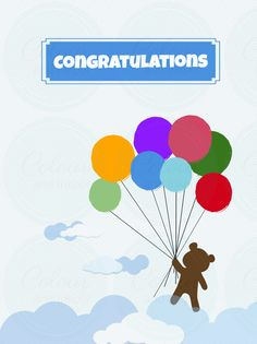 Balloons and Bear - Congratulations Note Card Note Cards, Thank You Cards, Eid Cards, Charity, Balloons, Presents, Notes, Bear