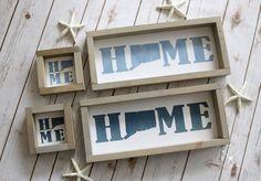 Farmhouse Design, Farmhouse Style, New England Farmhouse, Silhouette Sign, Watercolor On Wood, Custom Wood Signs, State Map, Custom Homes, Coastal