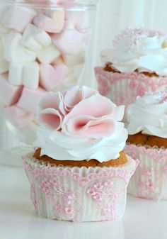 Adorable, Love the Pink Lace Overlay on the cupcake holders~❥
