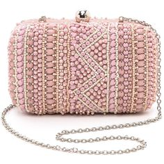 Santi Beaded Minaudiere - Pink featuring polyvore, fashion, bags, handbags, clutches, box clutch, embroidered handbags, satin clutches, kisslock handbags and hard clutch