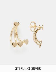 Fede ASOS Gold Plated Sterling Silver Triple Heart Swing Earrings - Gold plated ASOS ¯reringe til Damer i dejlige materialer